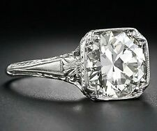 2.60 Ct  Edwardian Antique/Style Genuine Natural Diamond Engagement Ring VS2 E-F
