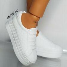 MATTEL WHITE SNEAKERS PLATFORM SHOES BARBIE FASHIONISTAS FOOTWEAR FASHION CURVY