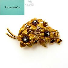 NYJEWEL Tiffany & Co. 18k Yellow Gold Sapphire Diamond Floral Pin Brooch