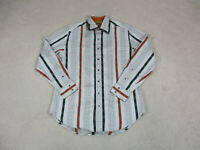 Robert Graham Button Up Shirt Adult Large Gray Orange Striped Flip Cuff Mens