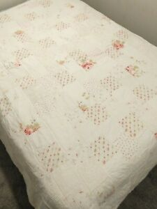 """Simply Shabby Chic Pink Hydrangeas Roses Patchwork Chenille Quilt Full 88""""x84"""""""