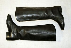 2000$ CHANEL black leather CC logo knee high flat riding boots 39-38.5 us8-8.5