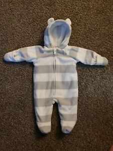 Baby 0-3 Months Old Navy Gray White Striped Hooded Bear Bunting SnowSuit Infant