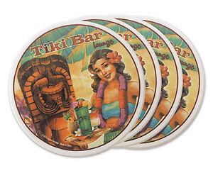 Hawaiian Ceramic Coasters Set 4 Drink Tableware Hula Girl Tiki Bar Decor Kitchen