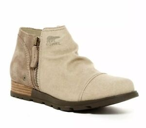 NEW SOREL Major Low Suede Canvas Zip Boot Women's 7 British Tan/Flax MSRP $140