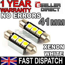 2x WHITE 41MM 3 SMD 239 272 C5W CANBUS FESTOON LED LAMP WHITE LIGHT BULBS 12V