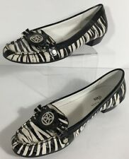 Vintage Anne Klein Iflex Zebra Stripe Black And White Size 6 M Leather Upper