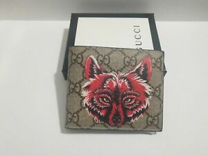GUCCI red wolf head leather men's wallet