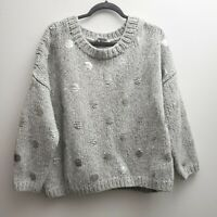 Elizabeth and James Sweater Gray Silver Polka Dot Sz Medium Oversize Wool Blend