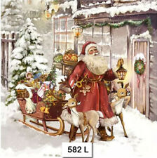 TWO (2) Paper Luncheon Napkins, Decoupage (582) CHRISTMAS, SANTA, SLEIGH