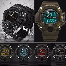 Men LED Digital Alarm Date Day Waterproof Sport Military Army Quartz Wrist Watch