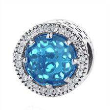 Sky Blue CZ Radiant Hearts Bracelet Charm Genuine Sterling S925 Silver