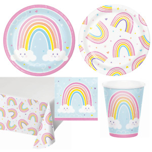 Happy Rainbow Party Tableware Colourful Foil Birthday Fun Table Decoration Gift
