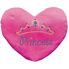 Girls Pink Heart Throw Pillow Plush Princess Embroidery Kids Bed Room 13.5x11in