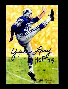 Yale Lary (D.2017) Signed Autograph 4x6 Goal Line Art W/HOF 79 - 100% Guaranteed