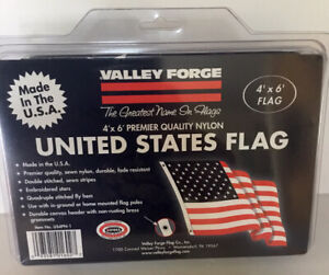 Valley Forge 4' X 6' US AMERICAN FLAG Sewn Stripes Embroidered Stars Nylon US4PN