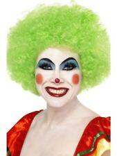 Señoras Loco Payaso Neón Verde Vestido de Disfraz Peluca De Circo Irlandés Irlanda