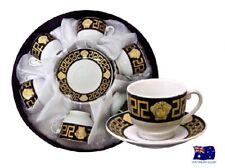 FLORENCE MEDUSA FACE COFFEE TEA CUPS & SAUCER SET OF 6 BLACK & GOLD AJ107-3