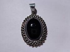 ".925 Sterling silver black Onyx wavy border design pendant 11.5 grams 1 7/8"" L"