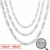 Wholesale 2MM 925 Sterling Silver Chain Necklace Women Men Collar 16''-30''inch