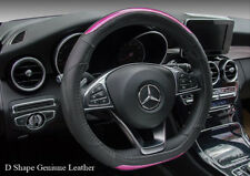 Real Leather Steering Wheel Cover D Shape Sports Rose Pink GTI R Audi S3 SR3 S5