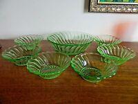 Bagley Carnival Uranium Glass Large Fruit/Dessert Bowl Six Matching Dishes