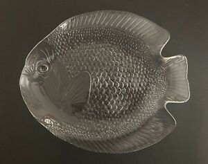 Vintage Glass Fish Serving Platter Plate Tray made by Arcoroc France