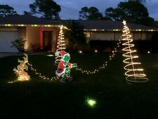 2 SIDED GRINCH Stealing CHRISTMAS Lights Lawn Decoration & Max  - FREE SHIPPING!