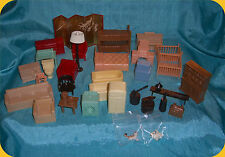Vintage Lot of Dollhouse Miniature Furniture & Misc Room Items