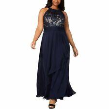 Calvin Klein Womens Sequined Formal Evening Dress - Size 18W, Navy