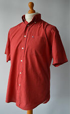 Men's Red Checked Tommy Hilfiger Short Sleeved Shirt Size Small -Medium.