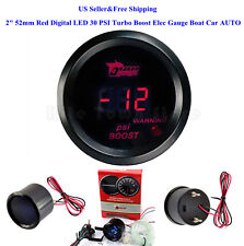 """US 2"""" 52mm Red Digital LED 30 PSI Turbo Boost Elec Gauge Boat Car AUTO 0~15V"""