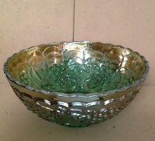 """Vintage Green Carnival Glass Bowl. 3"""" High x 7"""". Estimate 1940's. Grape Pattern"""