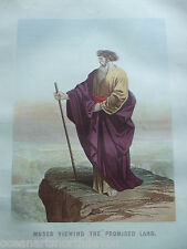 ANTIQUE PRINT C1870'S MOSES VIEWING THE PROMISED LAND HOLY BIBLE RELIGION JESUS