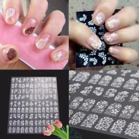 108Nagelsticker Aufkleber Tattoo Nageldesign Schmuck Weiß Fingernägel Blumen