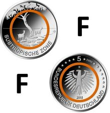 "Deutschland - 5 Euros Gedenkmünze 2018 F "" Subtropische Zone "" UNC / ORANGE RING"