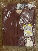 St Johns Bay Mens Burgundy Long Sleeve Flannel Shirt Med NWT