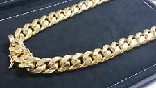 """26"""" Miami Cuban Link Chain 14K Yellow Gold Over 925 Sterling Silver Necklace"""