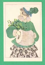 VINTAGE MELA KOEHLER, WIEN ART POSTCARD BEAUTIFUL FASHIONABLE LADY FLOWERS MUFF
