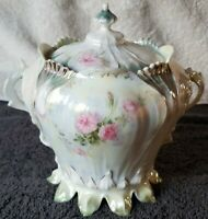 Antique R.S. PRUSSIA (RED MARK) Leaf Footed Lusterware Biscuit Jar, VERY RARE