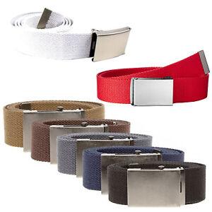 Womens Mens Unisex Canvas Webbing Belt Regular Buckle Army Jeans Belts UK