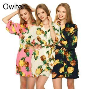 Women Cotton Pineapple Floral Robes Bride Robe Gown Bridal Wedding Kimono Gown
