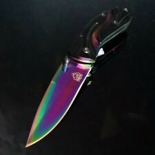 Titanium Fade (Rainbow) blade folding hunting Camping knife