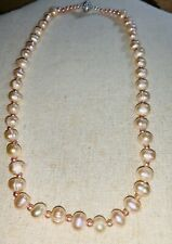 """Akoya Pearl Necklace In Pale Coral Pinks Magnetic Clasp 18"""" Approx"""