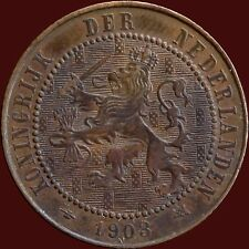 1903 Netherlands 2 1/2 Cent Coin