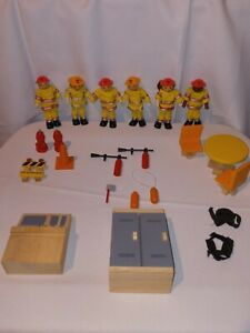 2004 Ryans Room Lil Fire Stoppers Helping Heroes Dolls Wooden Dolls Plus Extras
