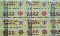 New 5 Pcs Indonesian Stamp Meterai Tempel / Materai Indonesia 6000