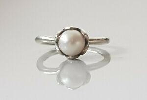 Genuine Pandora 925 ALE Sterling Silver Grand Pearl Ring 190865P - Size 50