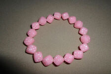 """Handmade"""" Pink Dice With White Dots"""" Bracelet With Strech Band, USA Made!, NEW!!"""