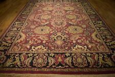 Original Wool Carpet 9x12 Tomato red Agra Hand-Knotted Rug